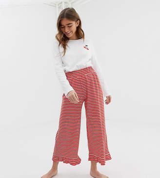 Asos DESIGN petite mix   match cherry stripe frill pyjama pant 051aaa236