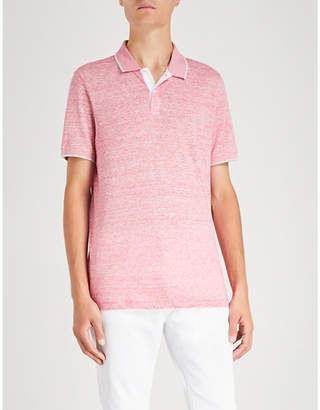 Michael Kors Striped linen and cotton-blend polo shirt