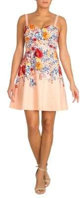 GUESS Floral Sweetheart Fit-&-Flare Dress