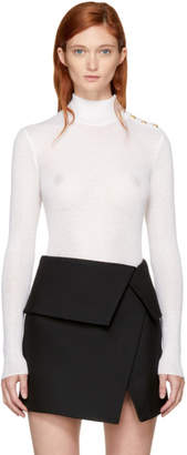 Balmain White Buttoned Turtleneck