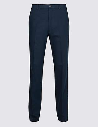 M&S Collection Big & Tall Linen Blend Flat Front Trousers