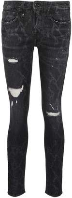 R 13 'Alison Skinny' ripped snakeskin print jeans