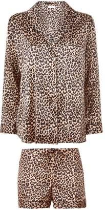 Yolke Silk Leopard Print Pyjamas