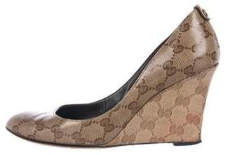 Gucci Guccissima Round-Toe Wedges