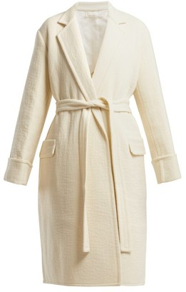 Helmut Lang Longline Virgin Wool Coat - Womens - Ivory