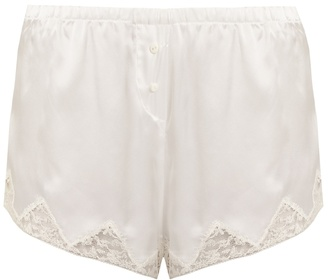 MORGAN LANE Josephine lace-trimmed silk shorts