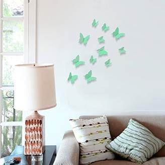 Mural Walplus Wall Stickers Apple Green 3D Butterflies Removable Self-Adhesive Art Decals Vinyl Home Decoration DIY Living Bedroom Office Décor Wallpaper Kids Room Gift, Apple Green