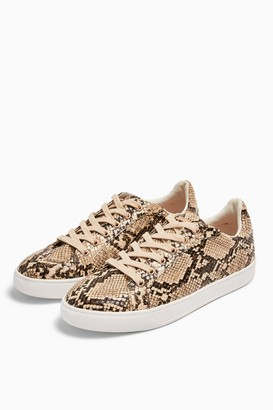 Topshop COLA Snakeskin Lace Up Trainers