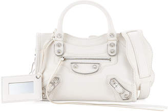 Balenciaga Metallic Mini City Leather Bag, White
