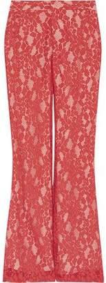Alexis Satin-Trimmed Lace Wide-Leg Pants