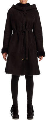 Gorski Shearling Lamb Reversible Parka Coat with Perforated Hood & Cuffs