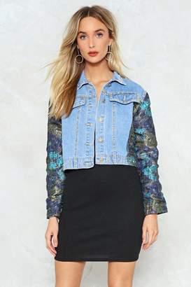Nasty Gal Don't Try So Jacquard Denim Jacket