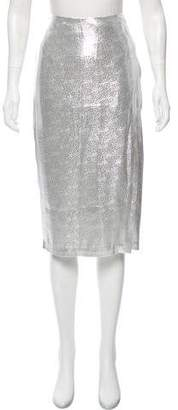 Ji Oh Metallic Pencil Skirt