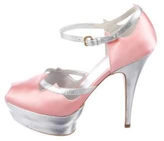 Miu Miu Peep-Toe Platform Sandals Pink Peep-Toe Platform Sandals