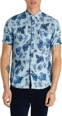 Good Man Brand Waimea Slim Fit Floral Print Linen Sport Shirt