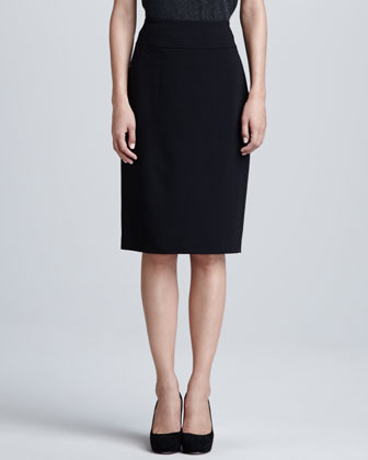 Magaschoni Wool Pencil Skirt, Black