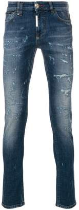Philipp Plein tiger embroidered skinny jeans