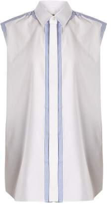 Maison Margiela Contrast-trim sleeveless cotton-poplin shirt
