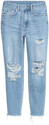 H&M Mom Jeans Trashed - Blue