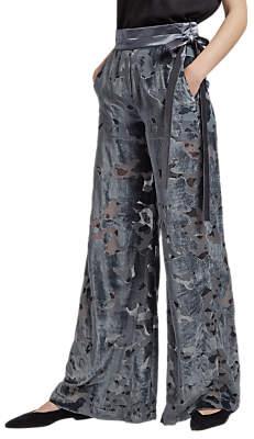 French Connection Brigitte Velvet Flared Trousers, Dark Bonfire Blue