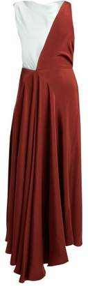 Roksanda Eliana Draped Silk Midi Dress - Womens - Brown Multi