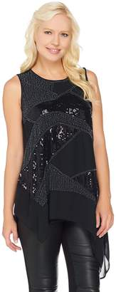 Halston H By H by Sleeveless Embellished Top with Asymmetric Hem