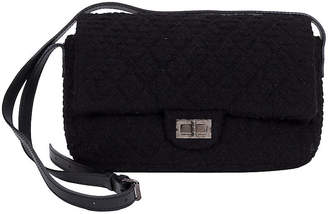 One Kings Lane Vintage Chanel Black Tweed Crossbody Flap Bag - Vintage Lux