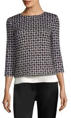 St. John Contrast Woven Sweater