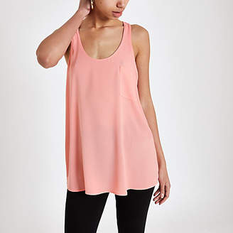 River Island Pink chest pocket tank top