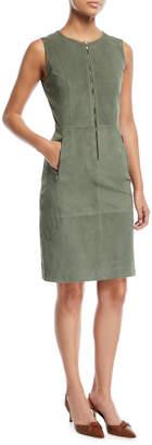 St. John Suede Front-Zip Sheath Dress