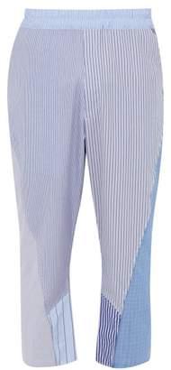 By Walid Hiro Striped Cotton Poplin Trousers - Mens - Light Blue