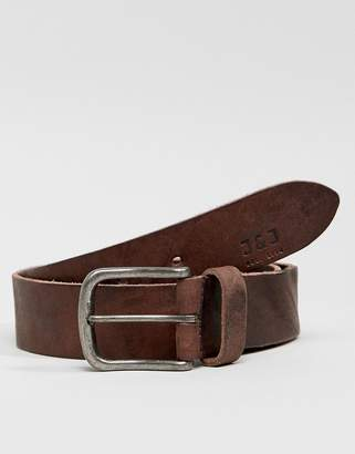 Jack and Jones Leather Belt With Vintage Buckle
