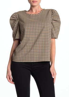 14th & Union Plaid Puff Elbow Sleeve Top