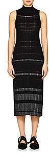 Proenza Schouler Women's Striped Rib-Knit Silk-Blend Midi-Dress - Black