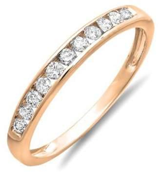 DazzlingRock Collection 0.30 Carat (ctw) 18K White Gold Round Diamond Ladies Anniversary Wedding Stackable Band 1/3 CT (Size 8)