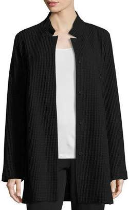 Eileen Fisher Stand-Collar Gridded Topper Jacket, Black