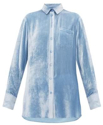 Sies Marjan Sander Silk Blend Velvet Corduroy Shirt - Womens - Light Blue