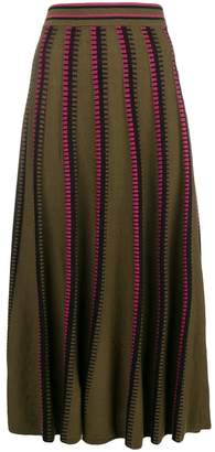 Temperley London striped pleated midi skirt