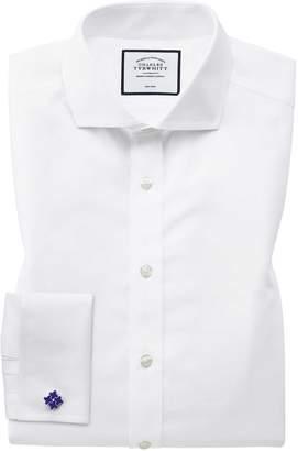 Charles Tyrwhitt Classic Fit White Non-Iron Twill Spread Collar Cotton Dress Shirt Single Cuff Size 19/35