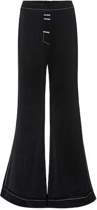 Ellery Woman Ruffled Woven Flared Pants Black Size 10 Ellery Hzn8XTKw0G