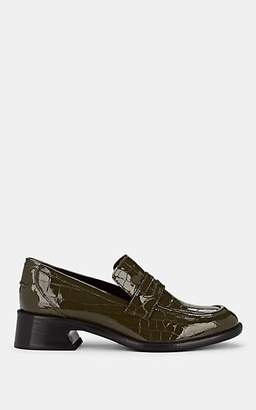 Sies Marjan Women's Eddie Crocodile-Stamped Patent Leather Penny Loafers - Olive