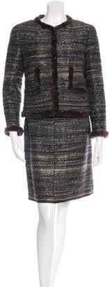 Chanel Fur-Trimmed Bouclé Skirt Suit $1,495 thestylecure.com