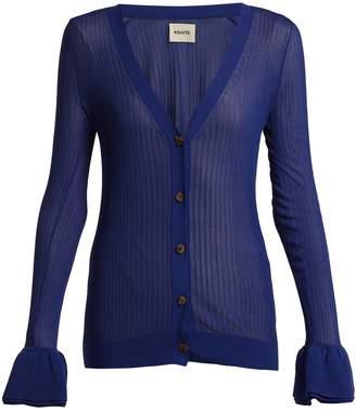 KHAITE Eloise ruffled-cuff ribbed-knit cardigan