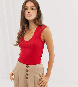 Stradivarius lace shoulder top in red