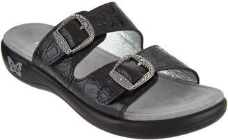Alegria Leather Buckle Detail Slide Sandals - Jade