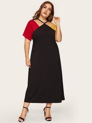 aaf631682 Shein Plus Color-block Raglan Sleeve Dress