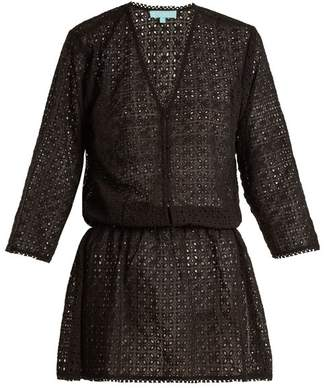Melissa Odabash Kylie V Neck Eyelet Lace Dress - Womens - Black