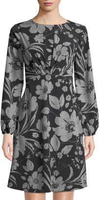 London Times Puff-Sleeve Gathered Floral-Print Dress
