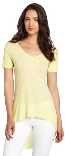 BCBGeneration Women's Short Sleeve Top with Perforated Leather Sleeves