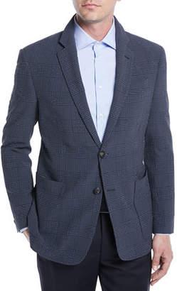 Emporio Armani Wool-Silk Stretch Plaid Seersucker Blazer
